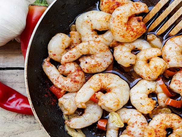 Gambas Al Ajillo Traditional Shrimp Prawn Dish From Madrid Spain